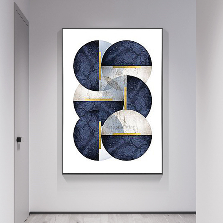 Geometric Navy blue oil paintings on canvas Hand painted Wall art Pictures for living room Modern abstract cuadros decoracion
