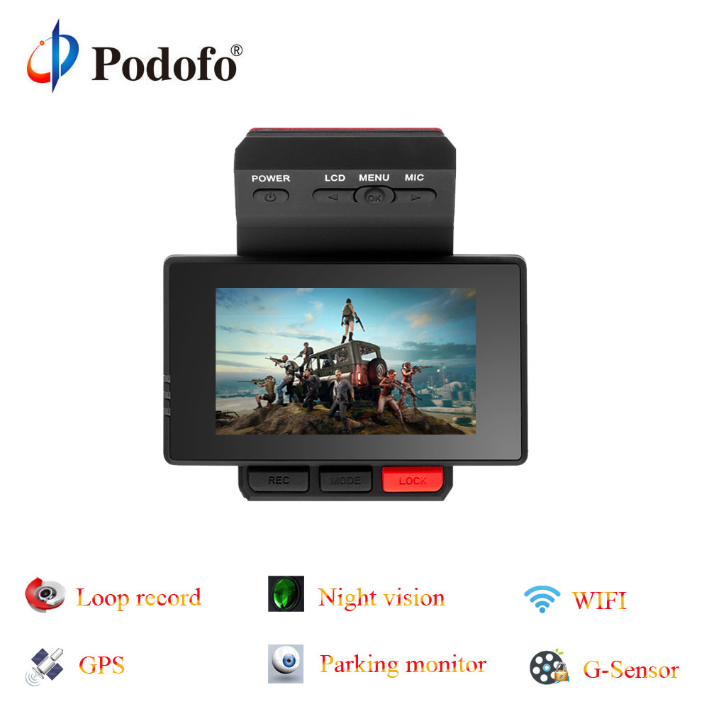 Podofo Novatek96650 Car DVR Dashcam Registrar GPS Video Recorder Camera FHD Parking Monitoring Wide-angle Wifi G-Sensor Dvrs цена