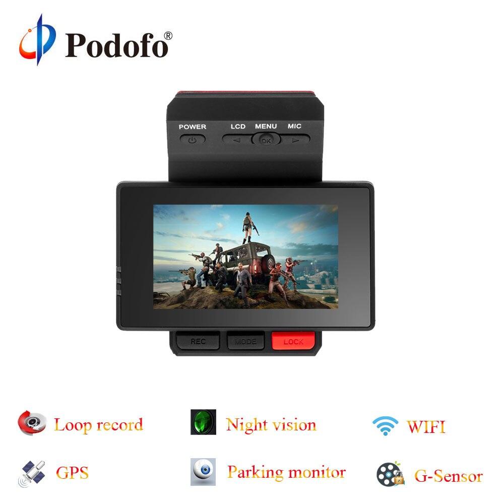 Podofo Novatek96650 Car DVR Dashcam Registrar GPS Video Recorder Camera FHD Parking Monitoring Wide-angle Wifi G-Sensor Dvrs