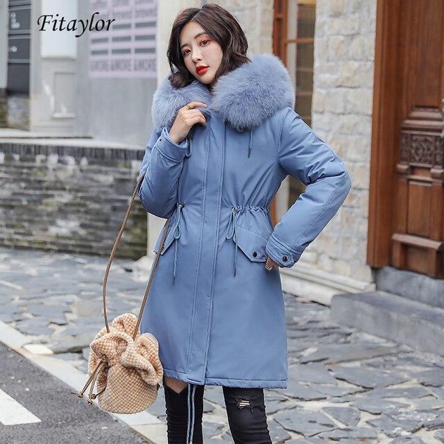 Fitaylor hiver femmes veste épais chaud coton manteau grand col de fourrure à capuche Parkas fausse fourrure de lapin noir rose neige Outwear