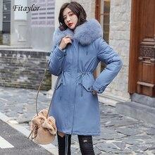 Fitaylor zima kobiety kurtka gruba ciepła bawełna płaszcz duże futro kołnierz z kapturem parki Faux futra królika czarny różowy śnieg znosić