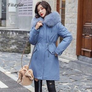 Image 1 - Fitaylor zima kobiety kurtka gruba ciepła bawełna płaszcz duże futro kołnierz z kapturem parki Faux futra królika czarny różowy śnieg znosić