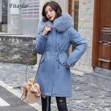 Fitaylor 겨울 여성 자켓 두꺼운 따뜻한 코튼 코트 대형 모피 칼라 후드 파커 가짜 토끼 모피 블랙 핑크 스노우 아웃웨어