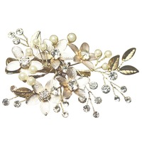 Chic Elegant Bride Women Silver Color Rhinestone Floral Leaf Imitation Pearls Hair Pin Hair Clip Party