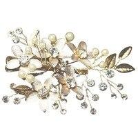Chic Elegante Bruid Vrouwen Zilveren Kleur Strass Bloemen Leaf Imitatie Parels Haar Pin Haar Clip Party Bridal Haar Accessoire
