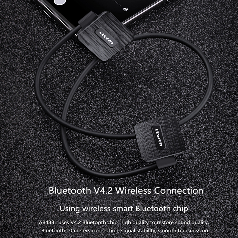 AWEI A848BL Wireless Sports Headset bluetooth wireless waterproof earphone with microphone Music Stereo Earbuds black headphones 2