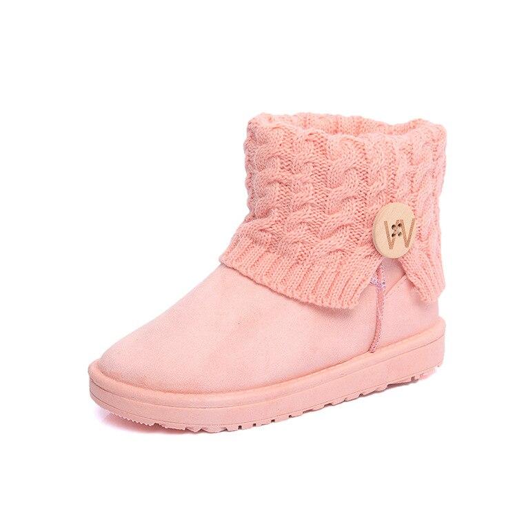 Laine femmes bouton boucle protéger les bottines avec des bottes courtes de couleur Pure dame fille garder sans lacet bout rond hiver plat en peluche