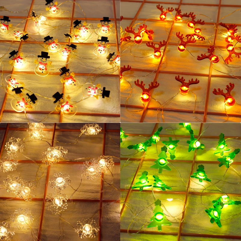 FENGRISE Snowman Elk Garland Mini Light String Merry Christmas Decor For Home 2019 Christmas Ornaments Christmas Decor New Year in Pendant Drop Ornaments from Home Garden