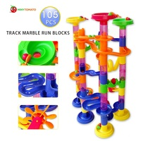 Free Shipping 105pcs DIY Construction Marble Race Run Maze Balls Track Plastic House Building Blocks Toys