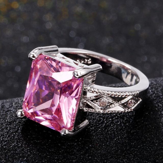 925 Silver Jewelry Cubic Zirconia Rectangle Pink Cushion Stone Rings 2
