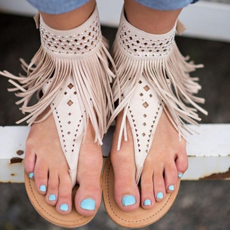 0bda9162f1724 Summer Women Sandals Gladiator tassel flat Bohemian Beach Sandal Flip Flops  casual shoes Sandals women Size
