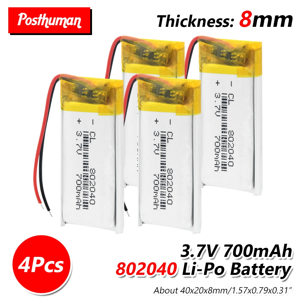 Li-Po li ion <font><b>Lipo</b></font> <font><b>Battery</b></font> Lithium Rechargeable <font><b>3.7V</b></font> <font><b>700mAh</b></font> 802040 Polymer <font><b>Lipo</b></font> cells For MP3 MP4 Bluetooth Speaker Reading Pen image