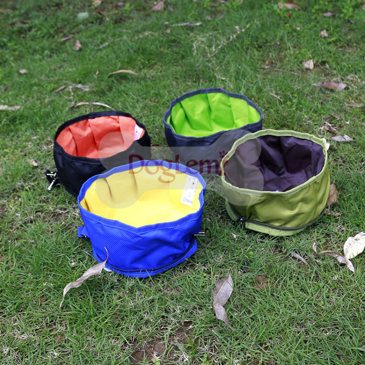 Foldable Dog Water Bowl Food Storage Bag Pet Snack Tray Beverage Waterproof Polyester Travel Camping Feeder