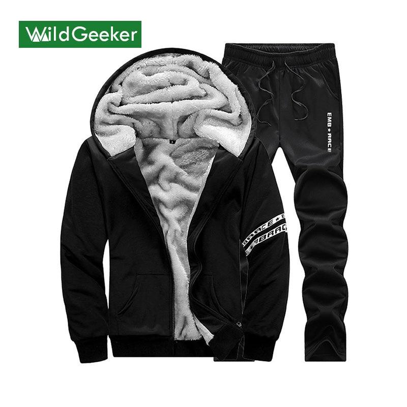 Wildgeeker Men s Sets 2017 Winter Autumn Thick Sportswear Male Suit Plus Size M 4XL Men