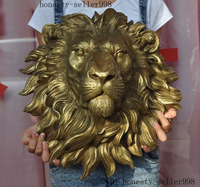 wedding decoration Chinese Fengshui Brass Copper Guardion Foo Dog Lion beast Head Statue Sculpture