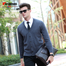 Christmas Day 2017  Discount Autumn Winter Mens Sweater 100% Wool Warm Long Sleeve V-Neck Men Cardigan Fashion Solid Color Slim Fit Sweaters Men Knitwear Top