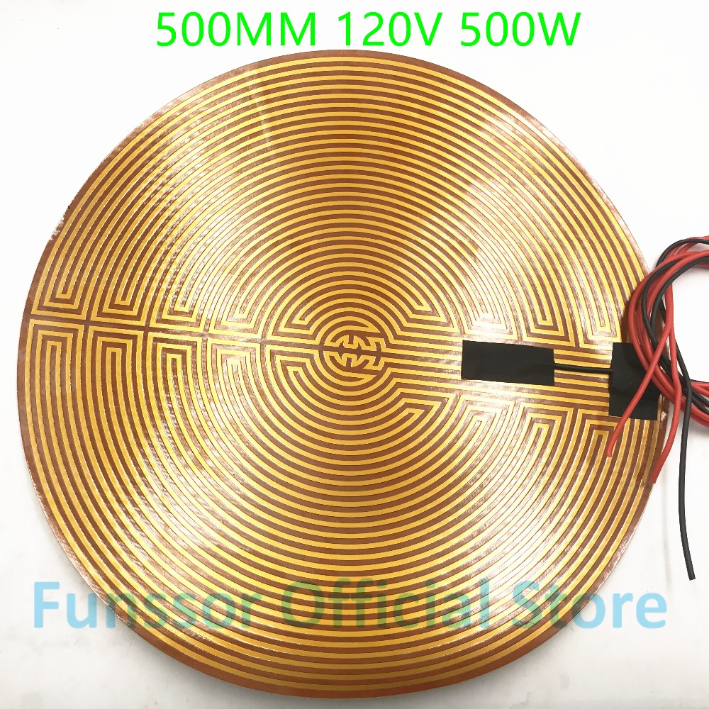 Funssor 500mm 120V 500W Round Polyimide film Heater bed NTC3950 Thermistor for DIY Delta/Kossel 3D Printer funssor 220v 450mm diameter round polyimide heater bed heater with adhesive tape for diy kossel 3d printer