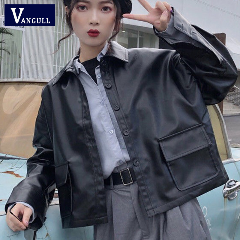 Vangull New Big Black Pocket Patched PU   Leather   Jacket 2019 Fashion Long Sleeve Cropped Jacket Women Streetwear Short Overcoat