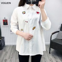 VOGUE N New Womens Embroidered Solid White Long Sleeve Button Down Shirt Blouse Tops Size SML