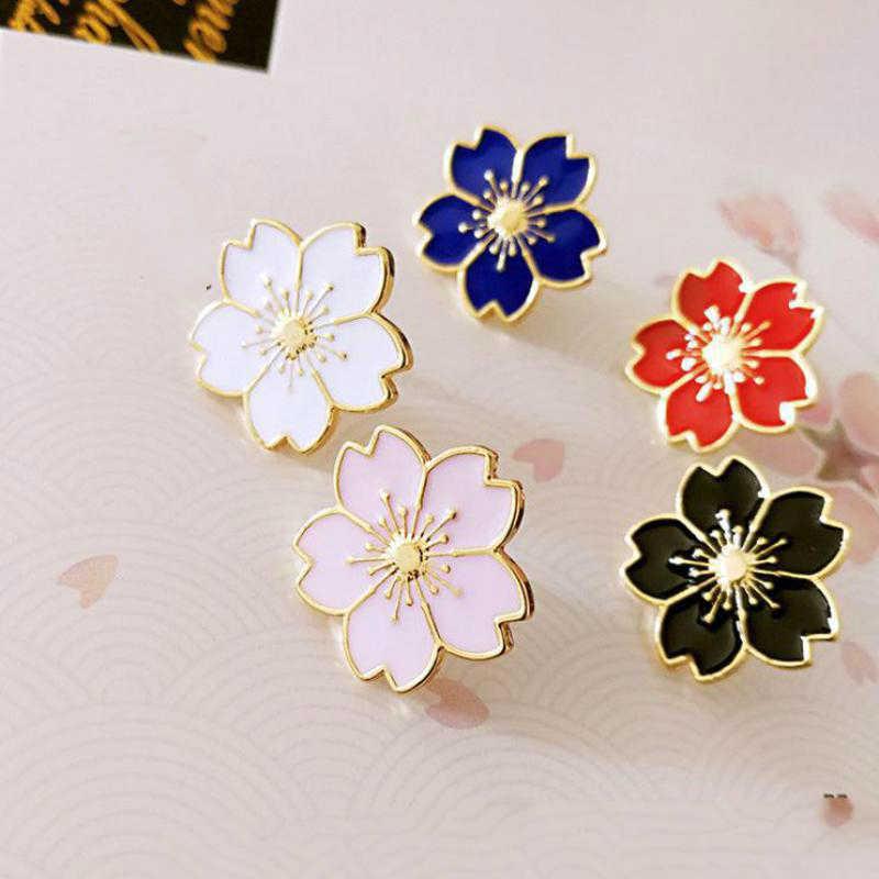 Qiaoyue Il nuovo 2019 dolce fiore di ciliegio spilla A Goccia del collare del fiore di pin badge Abbigliamento borse accessori accessori Femminili