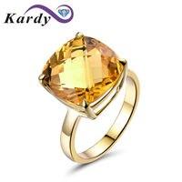 עתיק Vintage 9.67ct סיטרין הטבעי אבן חן קריסטל 14 K זהב צהוב חתונת אירוסין הבטחת להקת טבעת סט של נשים