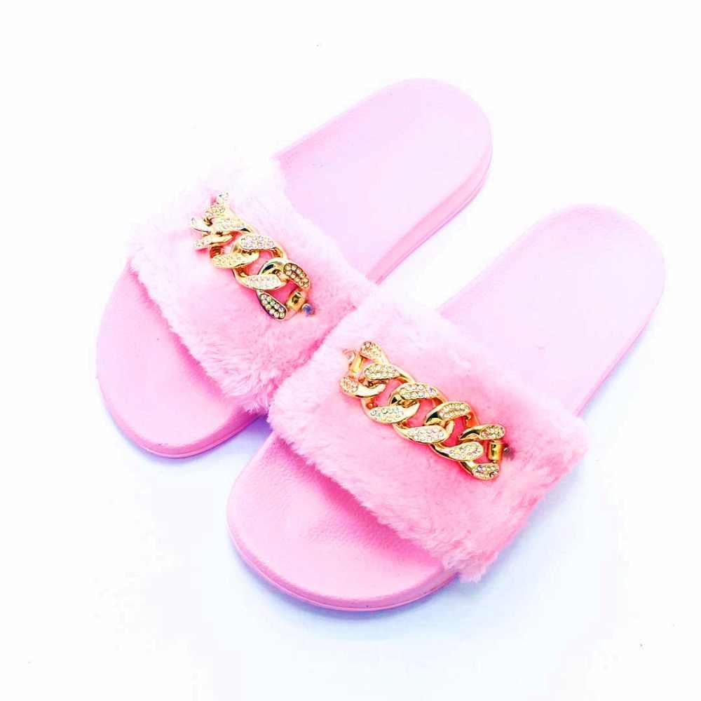 deef54e76606 ... AoXunLong Fashion New Shiny Diamond Slipper Women Furry Home Slipper  Flat Shoes Women Leopard Pink Eu