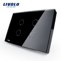Livolo US Standard Wall Switch, Black Crystal Glass Panel, AC 110~250V Touch Sensor Light Switch VL C304 82 with LED Indicator