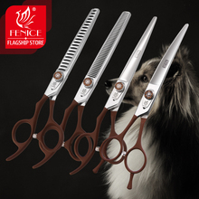 New design left handed 7.0 inch pet grooming scissors set straight thinning curved