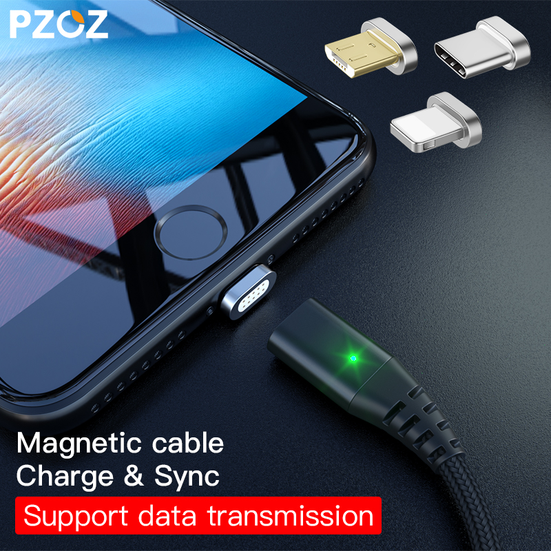 Pzoz Магнитная Тип Кабеля C Micro USB c молнии Быстрая Зарядка адаптер телефон Кабели MicroUSB Тип-C Зарядное устройство для Iphone X 8 7 6S