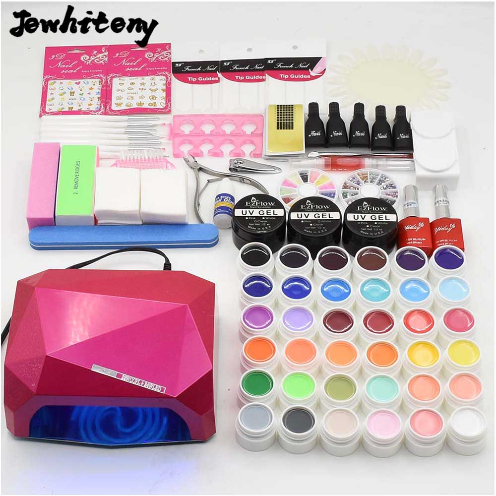 nail art full set 36w NAIL lamp dryer & 36 colors UV gel nail polish base gel top coat UV gel builder nail tools kit manicure nail art manicure tools set uv lamp 10 bottle soak off gel nail base gel top coat polish nail art manicure sets