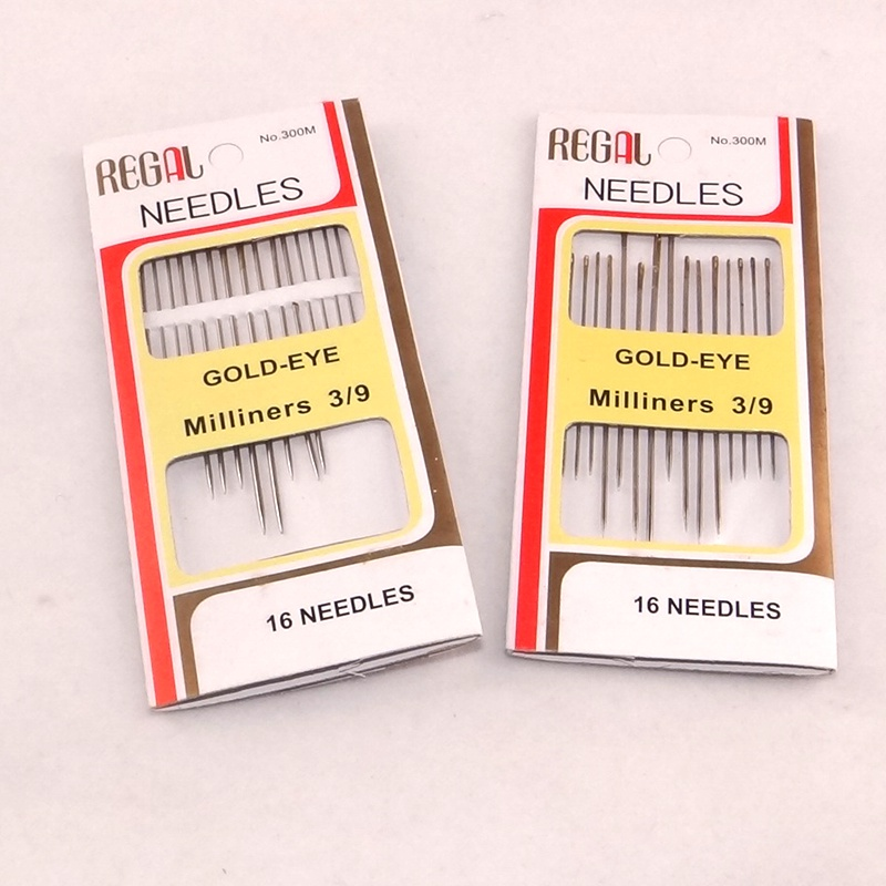 2 packs Embroidery Needle Kit Packing golden color tail for domestic DIY job hand stitching middle size 16 pcs for one lot ...