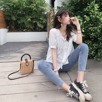 Mishow 2019 Summer New Casual Ruffle Trim Lace Eyelet Embroidered V neck Elasticed Straps Blouse Women MX19B4936