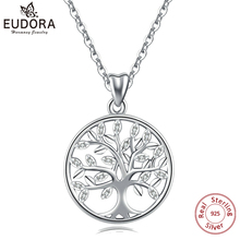 EUDORA 100% 925 Sterling Silver Tree of life Pendant Necklaces with AAA Zircon Women Fashion Jewelry Gift For girl Birthday D170 eudora 925 sterling silver tree of life necklace cloud tree pendant fortitude design jewelry for women happy birthday gift d449