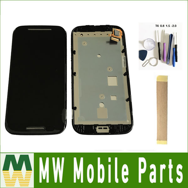 1PC/Lot LCD Display Touch Screen Sensor Digitizer With Frame For Motorola Moto E XT1021 XT1022 XT1025 Black White Color