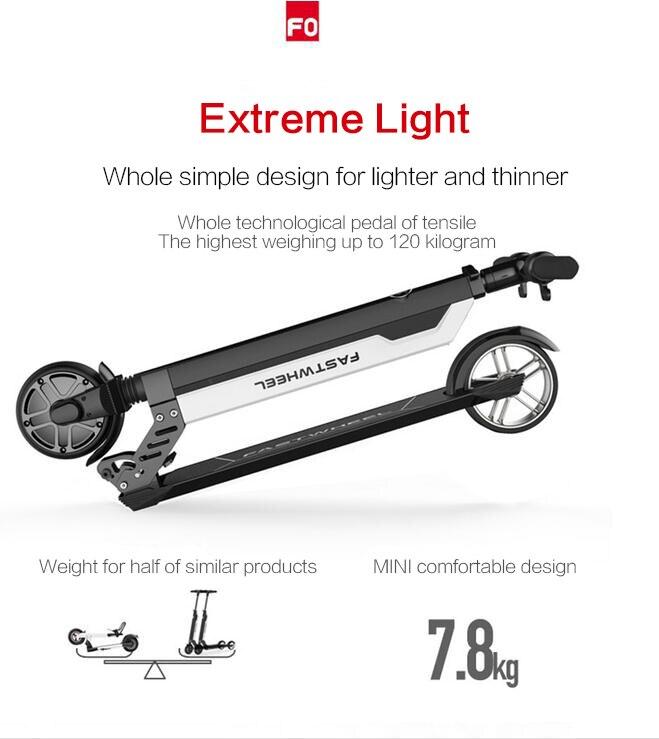 Цена за [MWmotor] 2017 Ной модель Fastwheel F0 мини электрический скутер Литиевая батарея, складной, взрослых, легкий 7.8 КГ, Бесплатная доставка, e bike
