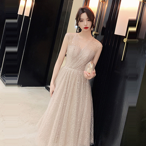 Image 5 - Prom Dress V neck Vestidos De Gala Sequin Elegant Women Party Night Dresses 2019 Plus Size Sleeveless Zipper Prom Gowns E723