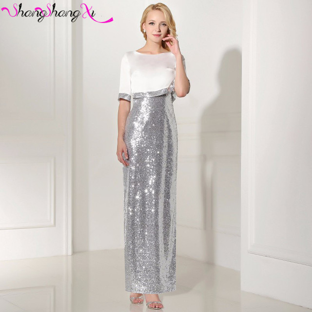 Elegant Silver Sequined Mermaid Dresses Evening Gowns With Jackets ...