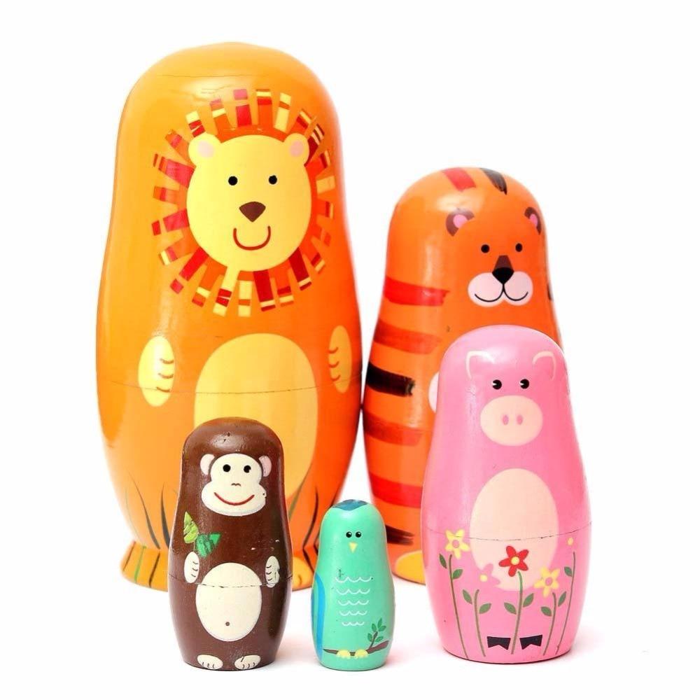 Animal Matryoshka Hand Paint Toys Wooden Nesting Babushka Russian Doll DD
