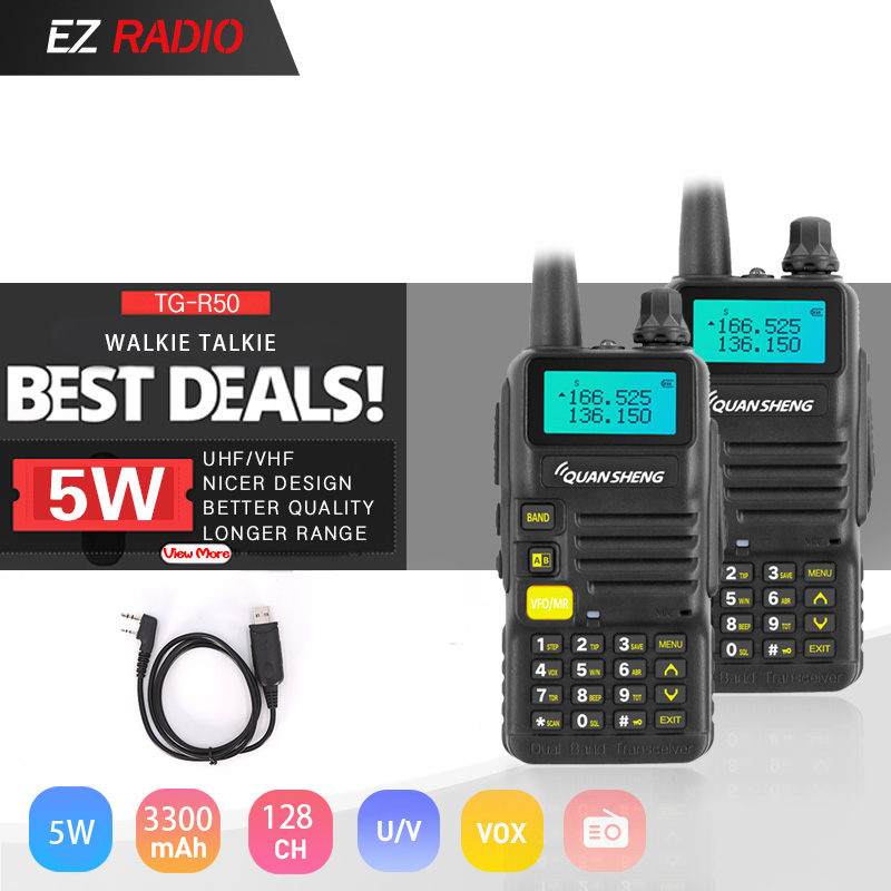 Recommend! 2pcs UV-R50/UV-R50-1/UV-R50-2 Quansheng TG-UV2 Walkie Talkie UHF VHF 5W Dual Band Two-way Radio 3300mAh Ham Radios 5W