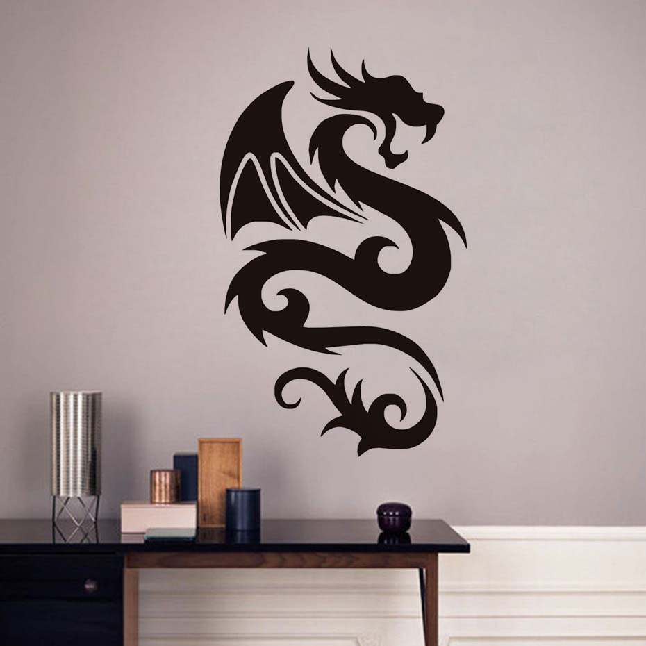 Image 2 - Peaceful Dragon with Wing Wall Sticker Vinyls for Wall Decals Children's Decorative Home Bedroom Living Room sofa Art WallPaper-in Wall Stickers from Home & Garden