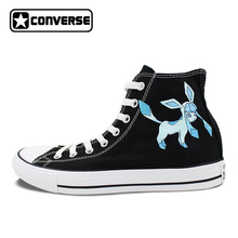 Pokemon Go Shoes Girls Boys Converse All Star Men Women Glaceon Hand Painted High Top All