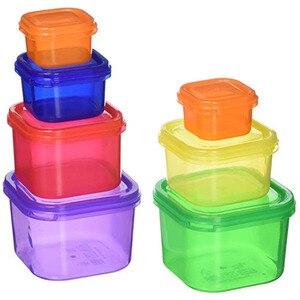 Image 3 - Caja de plástico 7 unids/set fiambrera Multi Color porción recipiente de control Kit BPA tapas libres etiquetadas Bento caja de almacenamiento de alimentos contiene