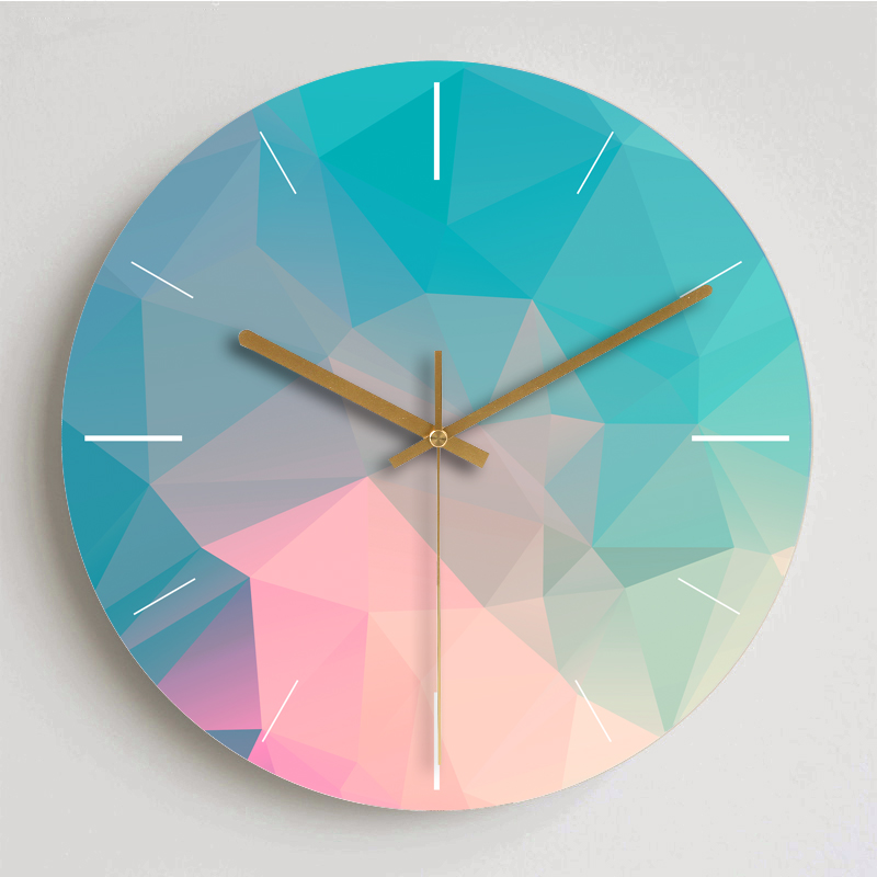 Colorful Creative Wall Clock Wooden Home Decoration Wall Clock Modern Fashion Silent Metal Round Clock