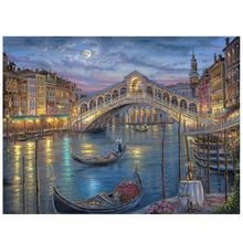 AZQSD Night View Squad Diamond Embroidery Home Decor Oil Venice Square Diamond Mosaic Painting Cross Stitch Living Room BB2536