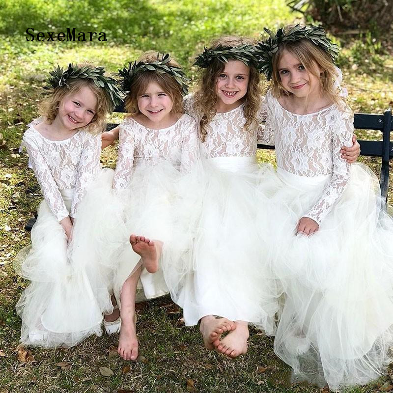 Cute White/Ivory Girl Dress A-Line O Neck Long Sleeves Ankle-Length with Lace Puffy Tulle Children Dresses for Wedding Size2-16Cute White/Ivory Girl Dress A-Line O Neck Long Sleeves Ankle-Length with Lace Puffy Tulle Children Dresses for Wedding Size2-16