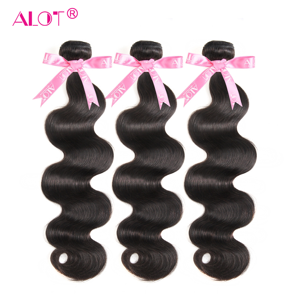 ALOT Hair Body Wave 3 Bundles Human Hair Weave Brazilian Bundle Deal Natural Color Hair Extension Non-Remy Beauty Hair 3 PCS