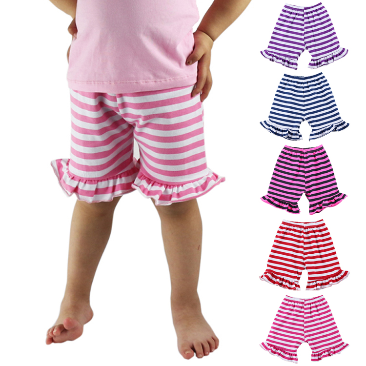 Cotton Ruffle Baby   Shorts   Striped Toddler Girls   Shorts   Kids Knit Icing Baby Girl   Shorts   Children spring/Summer Clothes Shorties
