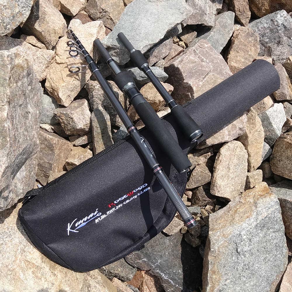 RoseWood KUNAI 2,4 m Kit de carrete telescópico de caña de pescar carrete giratorio bolsa de transporte funda para niños jóvenes viaje al aire libre bajo trucha