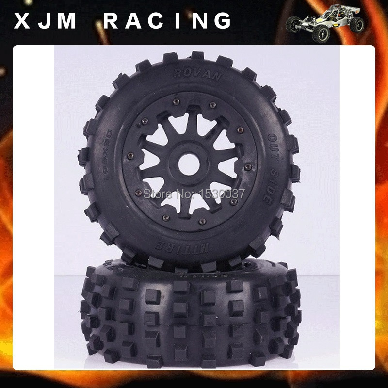 1/5 Scale RC KM RV HPI Baja 5T/ 5SC Rear knobby wheel tyres x 2 pcs free shipping 5t rear knobby wheel set for baja parts free shipping