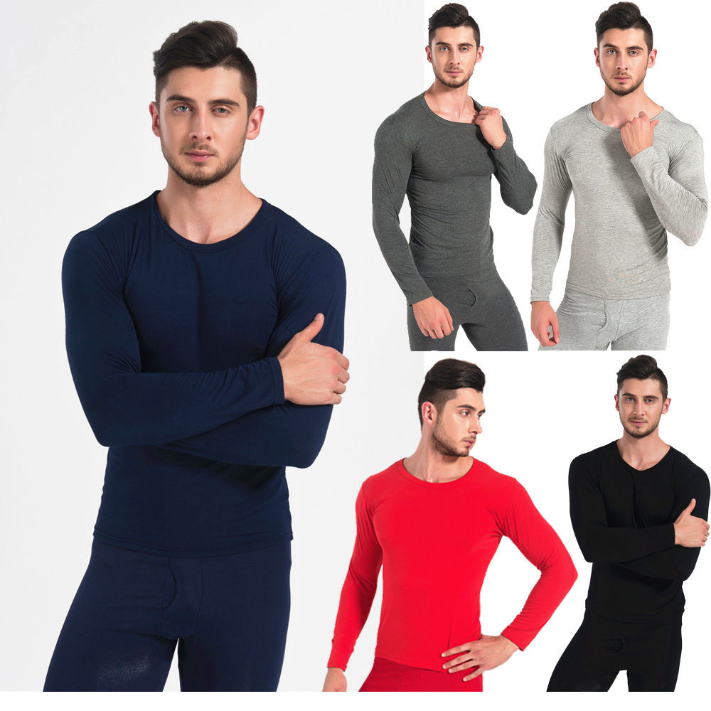 5 Different Colors Men Set Winter Warm Comfortable Lightweight Pajamas Long Johns Top&Bo ...
